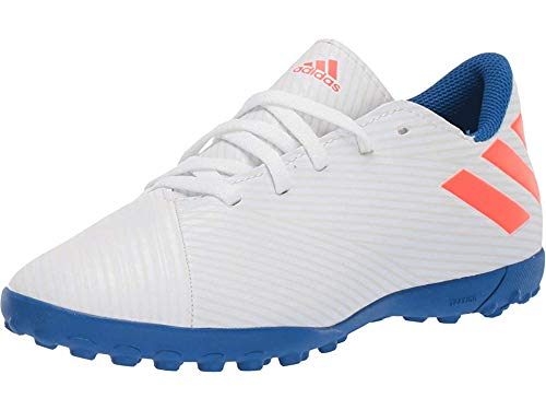 adidas Unisex Nemeziz Messi 19.4 Turf Soccer Shoe, White/Solar Red/Football Blue, 4 M US Big Kid (Indoor Soccer Shoes Messi Kids)