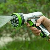 YeStar Metal Garden Hose Spray Nozzle, Deluxe Heavy Duty Hand Sprayer 7 Way Adjustable High Pressure Water Patterns Watering Plants, Car Washer Showering Pets