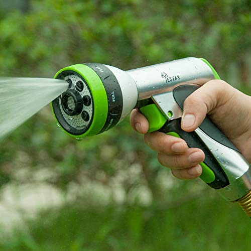 YeStar Metal Garden Hose Spray Nozzle, Deluxe Heavy Duty Hand Sprayer 7 Way Adjustable High Pressure Water Patterns Watering Plants, Car Washer Showering ()