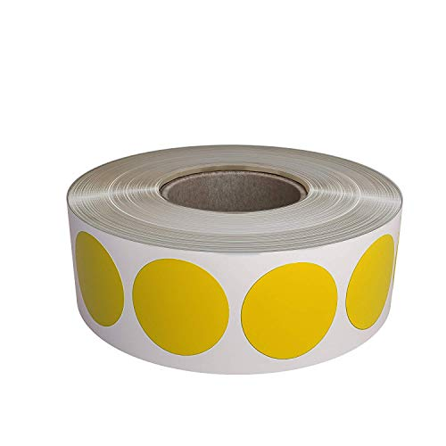 Yellow Dot Labels Stickers for Color Coding on Rolls - Permanent Adhesive Round Sticker Label 19mm - 1050 Pack by Royal -
