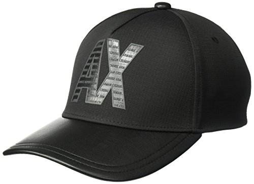 A|X Armani Exchange Armani Exchange Men's Wet Look Logo Cap, Black/Black, - Hat Black Armani Exchange
