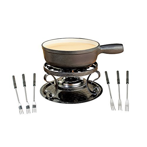 Swissmar Lugano Cheese Fondue, 9-Piece, Black by Swissmar