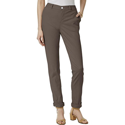 Style & Co. Womens Petites Boyfriend Flat Front Chino Pants Brown 6P