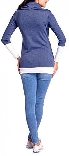 Happy Mama Boutique 348p Sudadera de maternidad con capucha, cuello de contraste - azul Light Jeans & White Medium