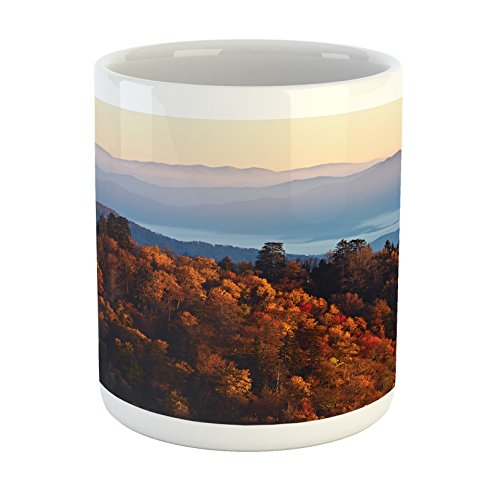 Ambesonne National Parks Mug, Sunrise at The Mountains Pine Trees Covered on Hill Mist South Carolina, Printed Ceramic Coffee Mug Water Tea Drinks Cup, Multicolor