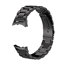 V-Moro Accessories Stainless Steel Watch Bands For Samsung Galaxy Gear Fit 2 Fit2 SM-R360 Black Large 6.5-8.1 inches (Metal Black)