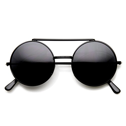 zeroUV - Limited Edition Color Flip-Up Lens Round Circle Django Sunglasses (Black - Flip Up Lenses