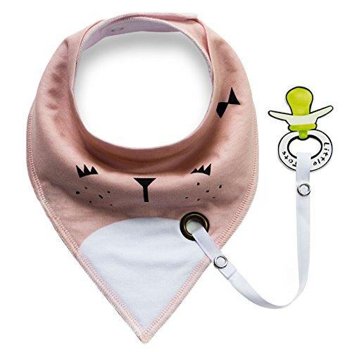 iZiv Baberos del Bebé - Paquete de 4 Diseños Pañuelo con Snaps Ajustables Clip de Chupete , TPU Impermeable Guarnición para niño 0-2 años (Color-7) Color-1