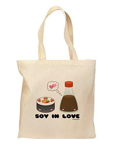 Tooloud, Motif sushi et soja, Sac d'épicerie Tooloud Sauce In Love, Couleur: Naturel