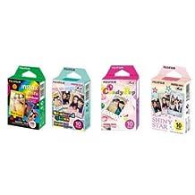Fujifilm InstaX Mini Instant Film Rainbow & Staind Glass & Candy Pop & SHINY STAR Film -10 Sheets X 4