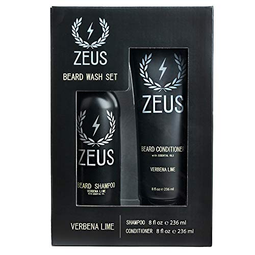 (ZEUS Beard Shampoo and Beard Conditioner Set for Men - (8 oz. Bottles) (Scent: Verbena Lime))