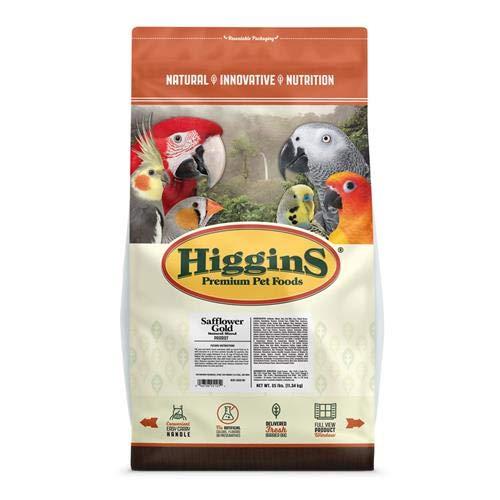 Higgins Safflower Gold Food For Parrots, 25-Pound by Higgins