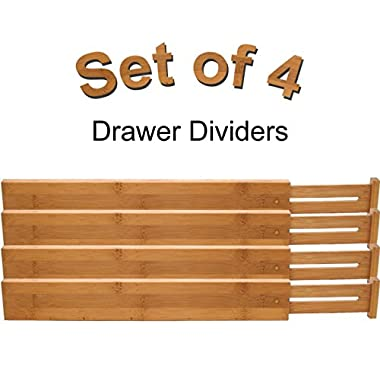 Lipper International Bamboo Kitchen Drawer Dividers, - Adjust From 22  to 17 ⅜