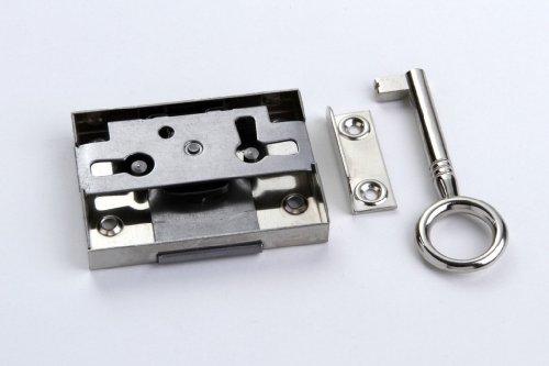 1 Schrankschloss Möbelschloss Aufschraubschloss Metall vernickelt 25mm mit Schlüssel