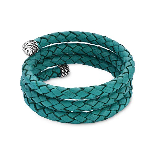 West Jewelry Sterling Silver Turquoise Braided Leather Wrap Bracelet