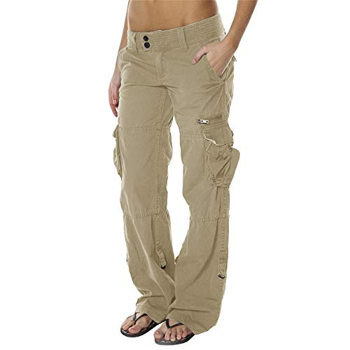 - Lynwitkui Womens Casual Cargo Jogger Pants Active Military Army Style Mid Waisted Trousers with Pockets Khaki