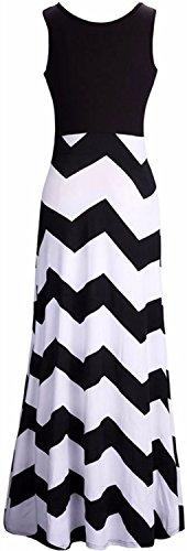 mer Chevron Striped Print Dress Tank Long Maxi Dresses For Women Black-A-XXL ()