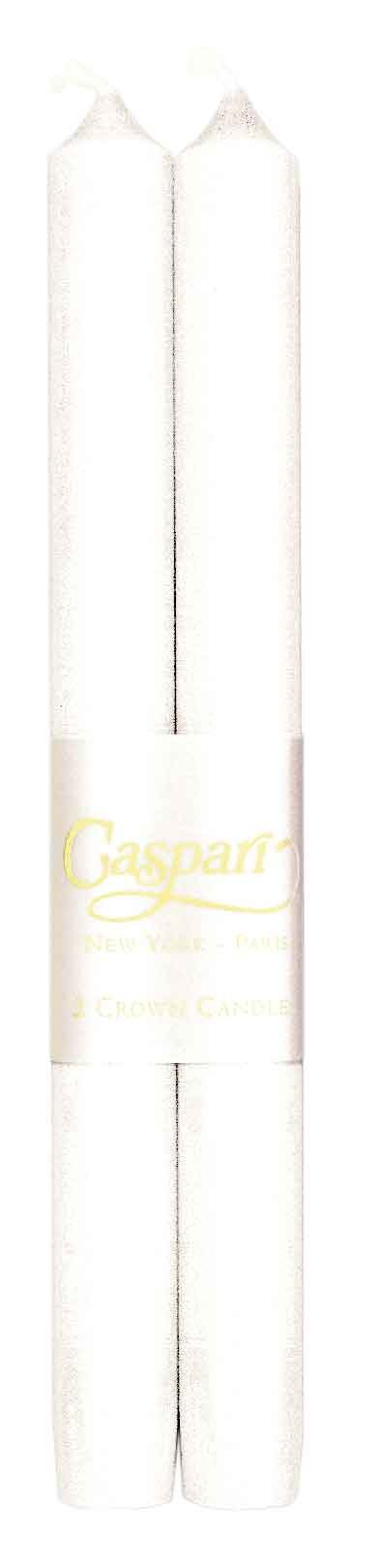 Caspari - Fancy 10-Inch Taper, Dripless, Smokeless, Candlesticks, White, Set of 12