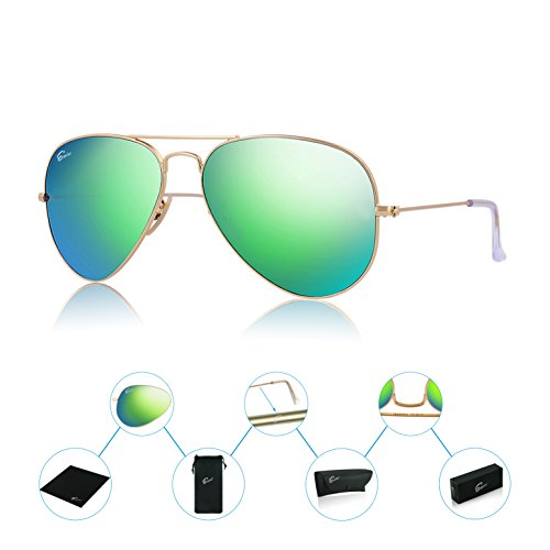 ESPIRO Premium Mirrored Aviator Sunglasses For Men Women Flash Mirror Lens UV400 - Italy Coupon Sunglasses