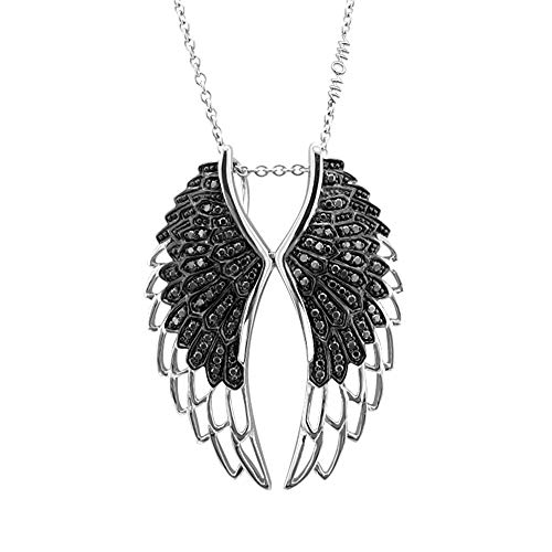 Mom's Angel Feather Wing BLACK Diamond Pendant Necklace in Sterling Silver (1/2 Carat)