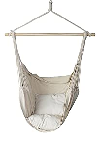 SueSport New Hanging Rope Hammock Chair Porch Swing Seat Sky Chair with cushions for Any Indoor or Outdoor Spaces- Max. 265 Lbs -2 Seat Cushions Included from SueSport