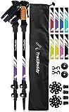 TrailBuddy Lightweight Trekking Poles - 2-pc Pack Adjustable Hiking or Walking Sticks - Strong Aircraft Aluminum - Quick Adjust Flip-Lock - Cork Grip, Padded Strap - (Purple Plum)