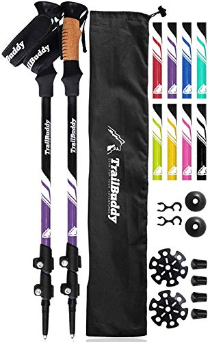 TrailBuddy Lightweight Trekking Poles - 2-pc Pack Adjustable Hiking or Walking Sticks - Strong Aircraft Aluminum - Quick Adjust Flip-Lock - Cork Grip, Padded Strap - (Purple Plum) from TrailBuddy