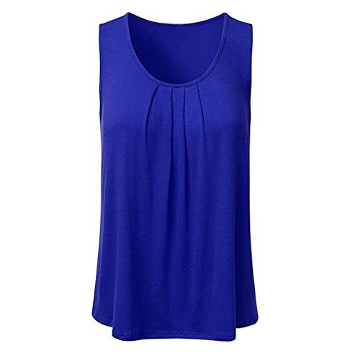 Lljin Women's Casual Solid Sleeveless Pleated Scoop Neck Loose Tank Top Blouse (Dark Blue, XXXL) ()
