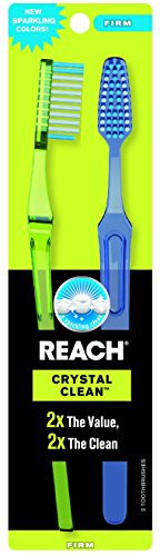 REACH Crystal Clean Value Count Toothbrushes, Firm, 2-Count by Reach