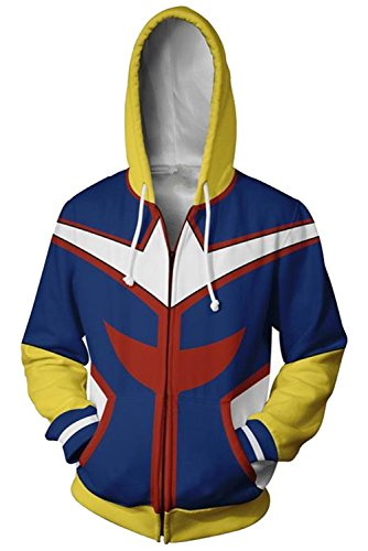 (NoveltyBoy Boku No Hero Academia My Hero Academia All Might Hoodies Sweatshirt Cosplay Costume Battle Suit Jacket (Small))