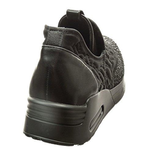 Angkorly - Scarpe da Moda Sneaker bi-materiale slip-on slip-on donna strass finitura cuciture impunture Tacco tacco piatto 4.5 CM - Nero