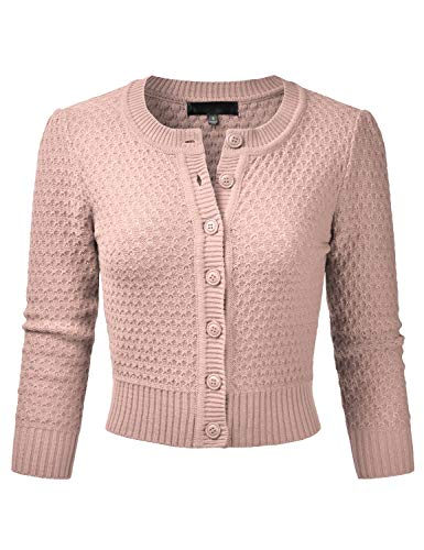 (EIMIN Women's Crewneck Button Down 3/4 Sleeve Knit Crop Cardigan Sweater Blush M)