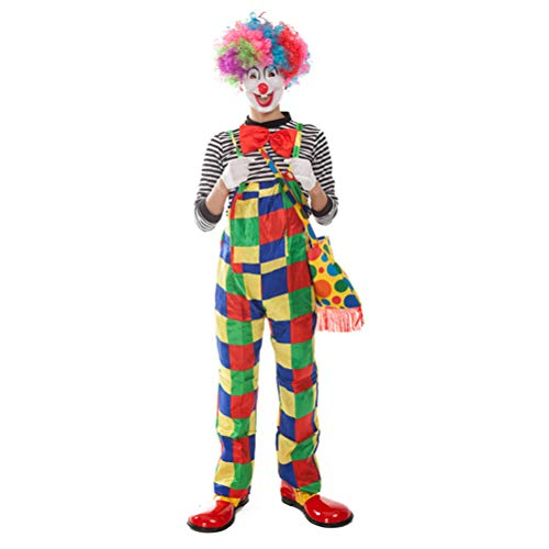 BESTOYARD Clown Costume Carnival Cosplay Party Joker Dress Up Hallowen Xmas Clothe Suit for Men 5pcs