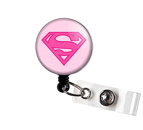 LOVEKITTY - Super Hero Super Power Super Girl Inspired Alligator Swivel Clip Retractable ID Badge Reel/Name Badges/ID Badge Holder (18) ()
