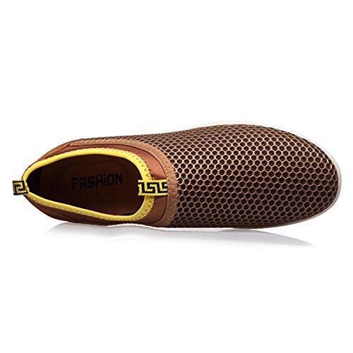 Sibba Männer & Frauen Runing Schuhe Atmungsaktive Mesh Slip-On Sneakers für Walking Jogging Outdoor Casual Sport Braun