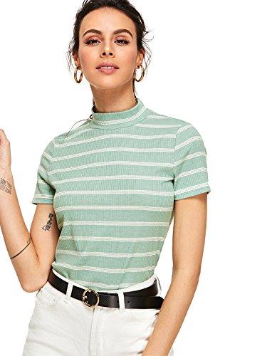 Floerns Women's Short Sleeve Striped Slim Fit Mock Neck Stretch T-Shirts Green M