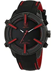 Dogfish Shark - SH384 Mens Quartz Watch Simple Black Dial LED Day Date Alarm Silicone Band