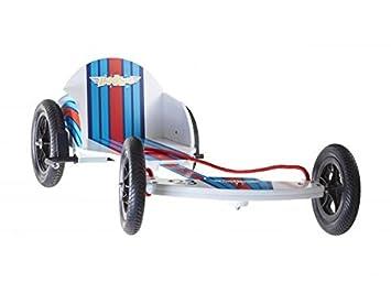 Kiddimoto Kids Boxkart Wooden Go Kart - Red/White/Blue Racer