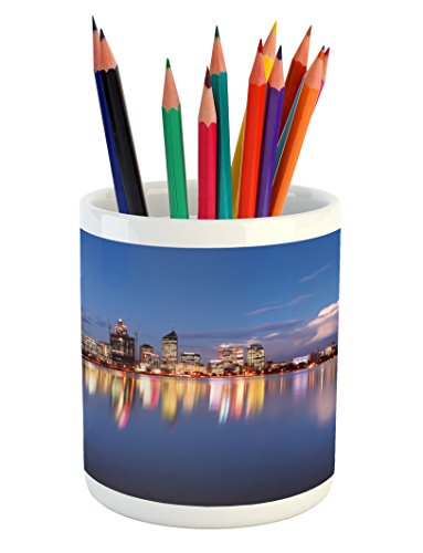 Lunarable Modern Pencil Pen Holder, Skyline of Perth Western Australia at Night Dramatic Urban Swan River Scenery, Printed Ceramic Pencil Pen Holder for Desk Office Accessory, Violet Blue Amber (Patios Australia Western)