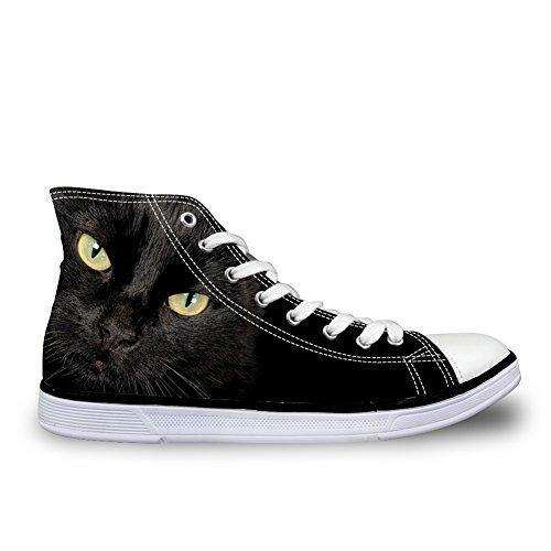 Per Te Disegni Simpatici Cani E Gatti Stampa Alta Top Donna Uomo Sneakers Di Tela Personalizzate Stringate Pizzo Nero Gatto