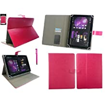Emartbuy® Acer Iconia 10 B3-A20 10.1 Inch Tablet Universal Range Hot Pink Multi Angle Executive Folio Wallet Case Cover With Card Slots + Hot Pink Stylus