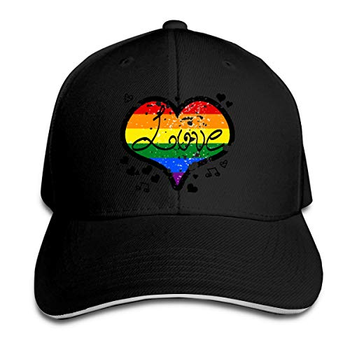 (Unisex Fashionable LGBT Love Rainbow Heart Peaked Hat Cotton Sun Hat for Unisex)