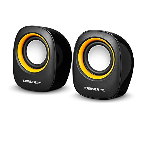 Earise AL-101 3.5mm Mini Computer Speakers Powered by USB Bl