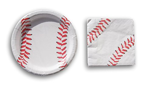 Baseball Party Supply Kit - Dinner Plates and Napkins -