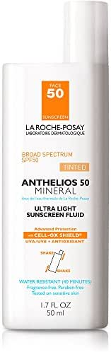 La Roche-Posay Anthelios Tinted Mineral Ultra-Light Fluid Broad Spectrum SPF 50, Face Sunscreen with Zinc Oxide and Titanium Dioxide, Oil-Free, 1.7 Fl. oz.