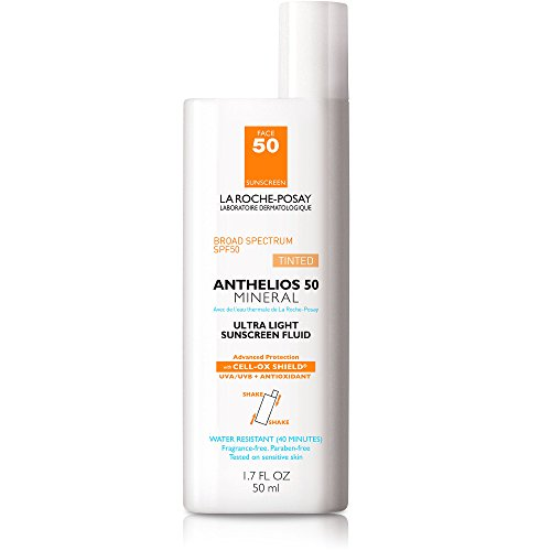 (La Roche-Posay Anthelios Tinted Mineral Sunscreen for Face SPF 50, Ultra-Light Fluid with Titanium Dioxide for Sensitive Skin, 1.7 Fl. Oz.)