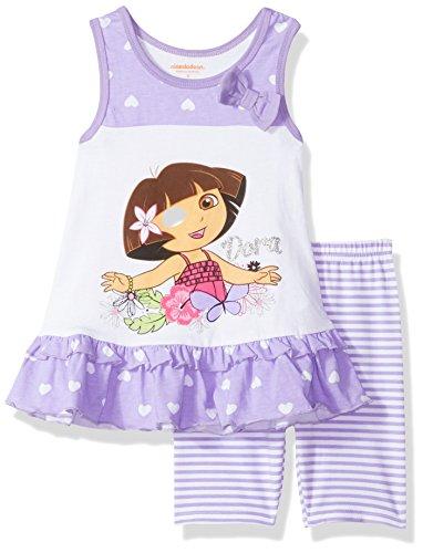 (Dora Girls' Little Explorer 2 Piece Bike Short Set, Purple, 5)