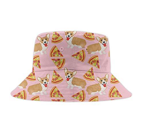 Bucket Hats for Men Outdoor Fisherman Sun Caps Welsh Corgi Pizza Pink