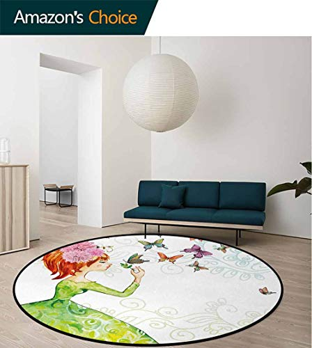 DESPKON-HOME Butterfly Round Rugs for Bedroom,Floral Lady in Green Dress with Leaf Ornaments Flower Pastel Butterfly Circle Rugs for Living Room Diameter-39 Inch,Pink Orange Green
