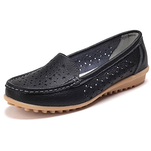 Leather Loafers Slip Flats Hattie Soft Black on Hollow Women Moccasins EfYHTwq6